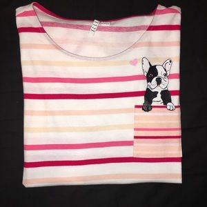 🐾NWT-Elle Striped T-shirt W/Dog On Pocket.